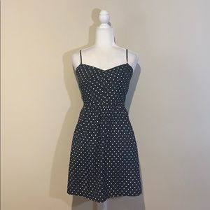 J. Crew Polka Dot Tank Dress Black White A-Line